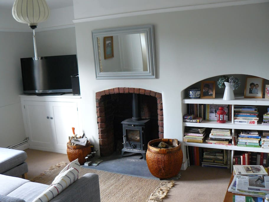 Living room with wood burner and TV.