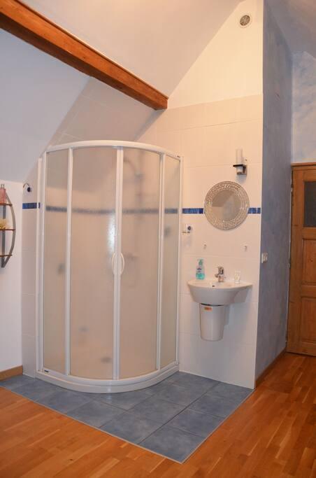 Salle de bain dans la chambre, avec petits rangements et linges de toilette
