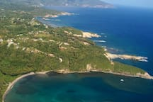 The following aerial views I took in 2007 but nothing too much has changed ! This is looking north from Hodges Bay along the coast to Vielle Casse