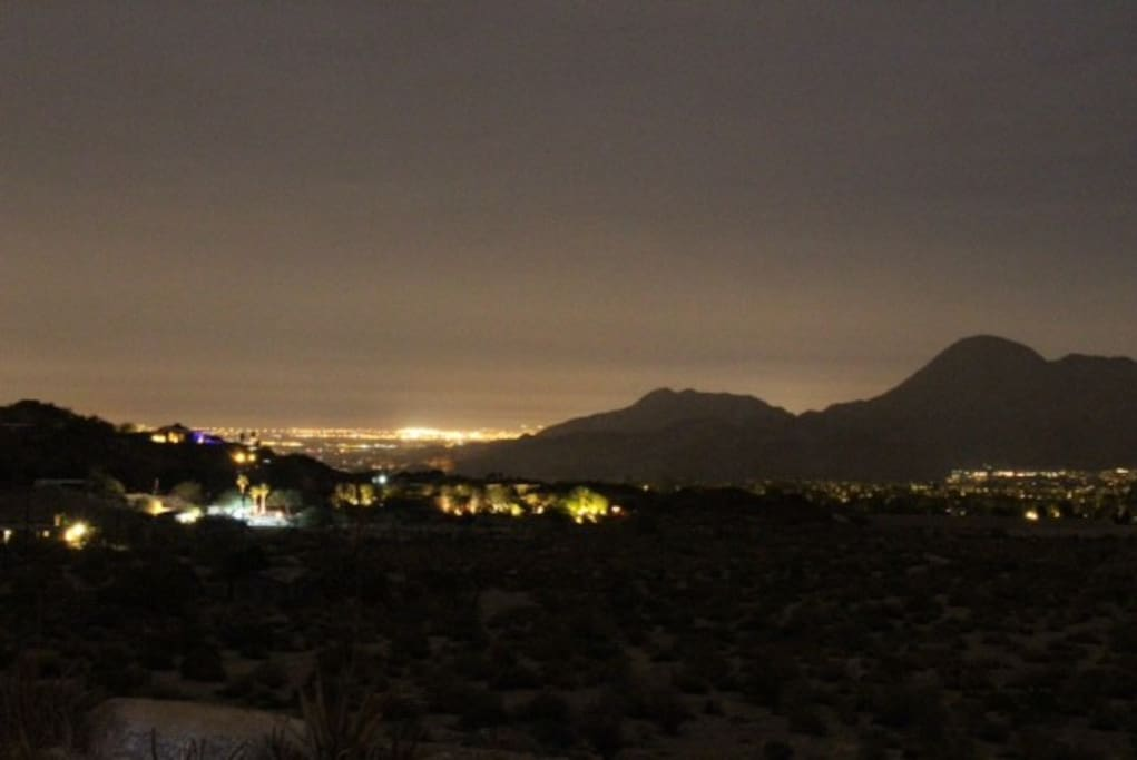 Spectacular Night View From Cabin Patio, yet 5 minutes from town center!