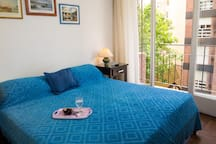 Bedroom with two wide and very comfortable single beds that can be joined.