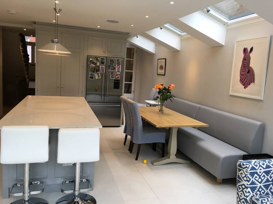 Kitchen view from garden - extending table to seat 10