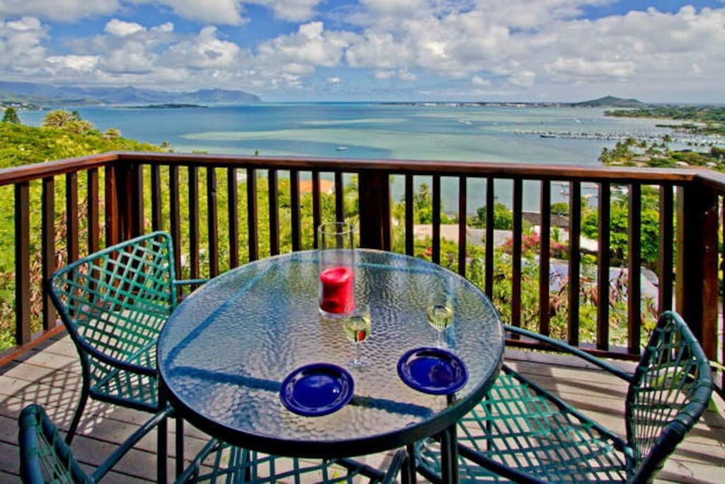 Enjoy Ocean View's from The Hill Top Studio's Lanai
