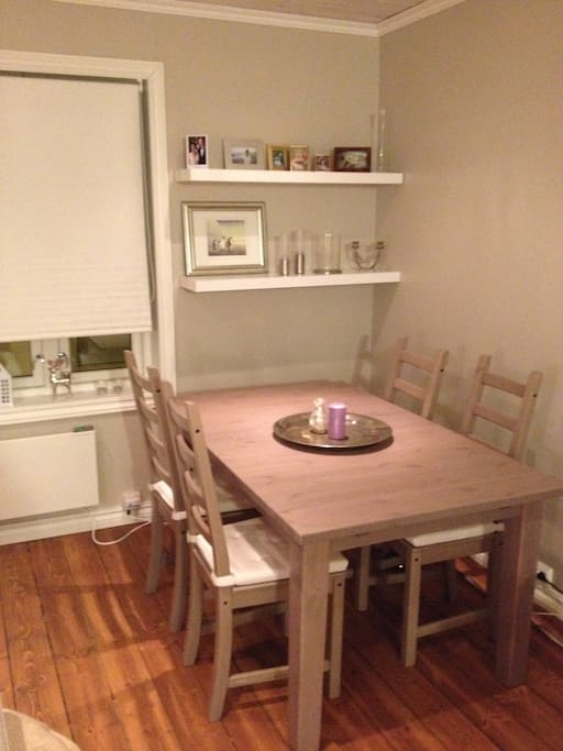 Dining table with possibility to extend to 8 persons.