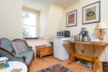 Upstairs breakfast nook - there is a full kitchen downstairs for guests, too!