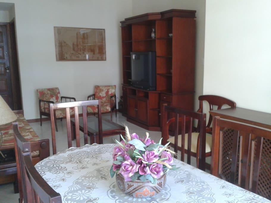 Sala com mesa, TV, sofa-cama e cadeiras.