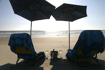 The beautiful beach below are awesome and a short drive away. We have beach chairs and umbrella's in our closets.