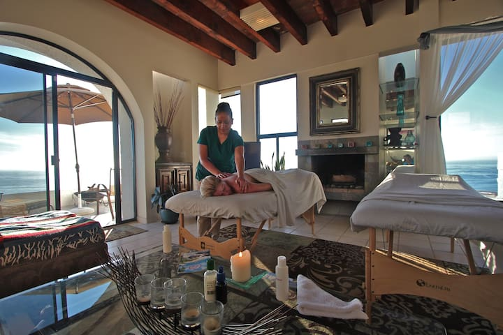 You can have a private massage in our living room with the soft sounds of the ocean below. This is separate cost and contact owners for details.