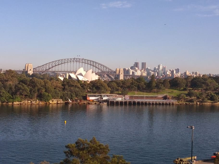 From the living room window, looking across the water to the Opera House & Harbour Bridge