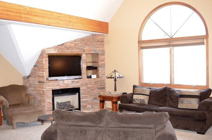 The vaulted ceilings and large windows provide plenty of light.
