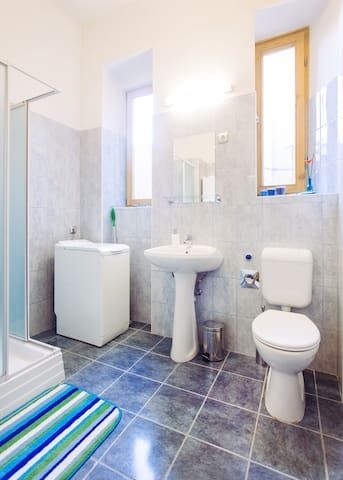 Fully equipped bathroom (even with a washing machine)