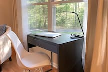 Laptop desk and fast Wi-Fi for those who need to get some work done