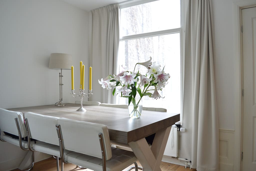The bright dining table