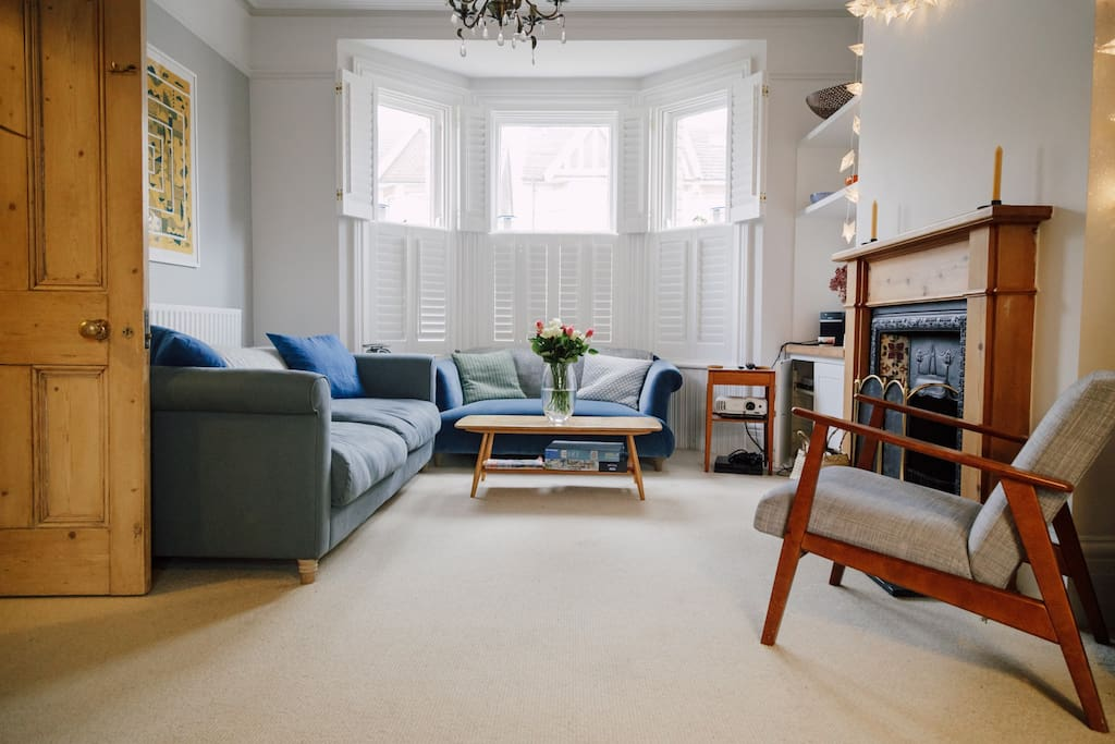 The living room is a cosy space to enjoy a film together