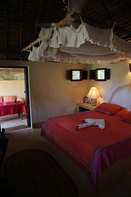Bedroom and adjoining sitting area, Bamboo room.