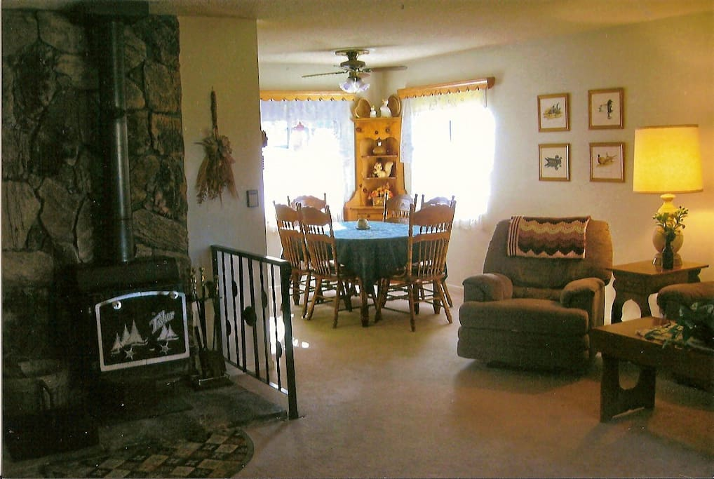 Wood burning fireplace and dining table for 6 - 8 with extra leaf in bedroom closet