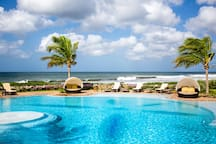 The pool at Rancho Santana's clubhouse overlooks Playa Jiquelite