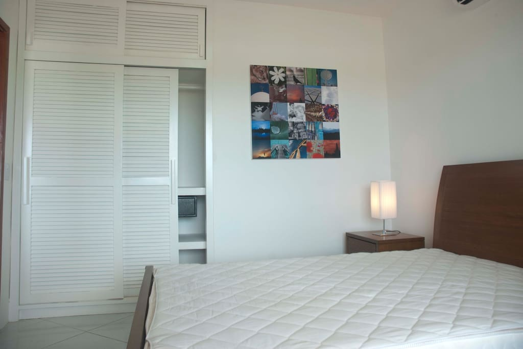 Master bedroom with double bed, comfortable matress and plenty of closet space