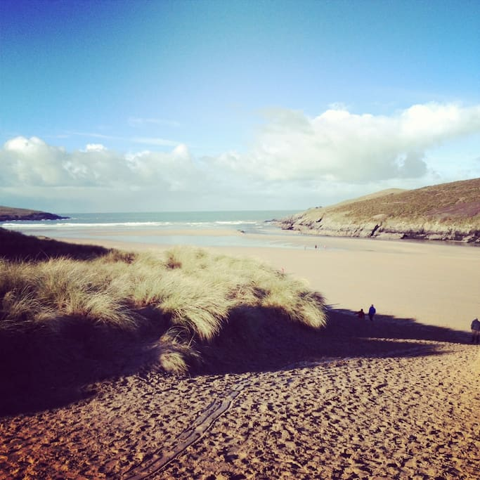 Crantock beach, our local beauty spot! Voted 'Best UK Beach' in 2014. Dogs are welcome all year round and there's a life guarding service in the summer. Ice cream, surfing lessons, freshly caught fish for sale - it's all here!