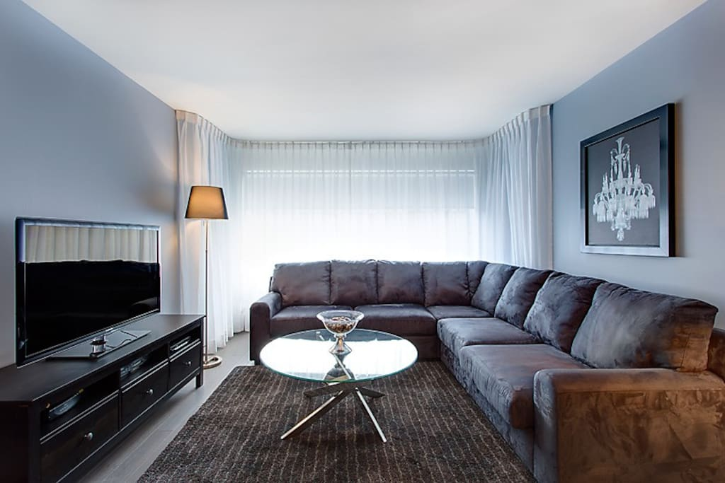 The large sectional sofa is a double sofa bed.