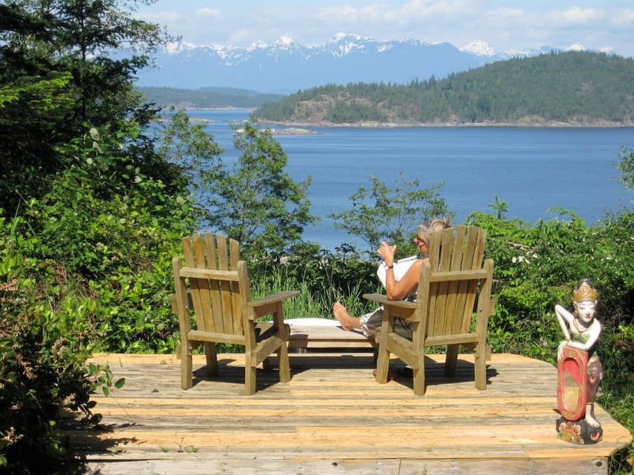 Relaxing in the sun on the front deck overlooking Desolation Sound