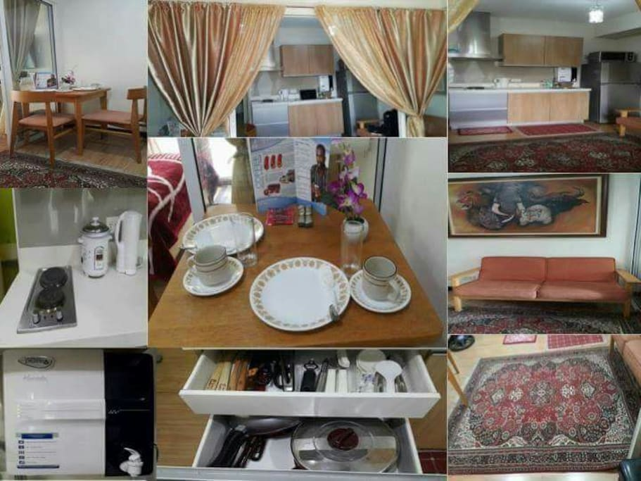 Complete furnishings inside the unit such as dining table , set of plates , induction cooker