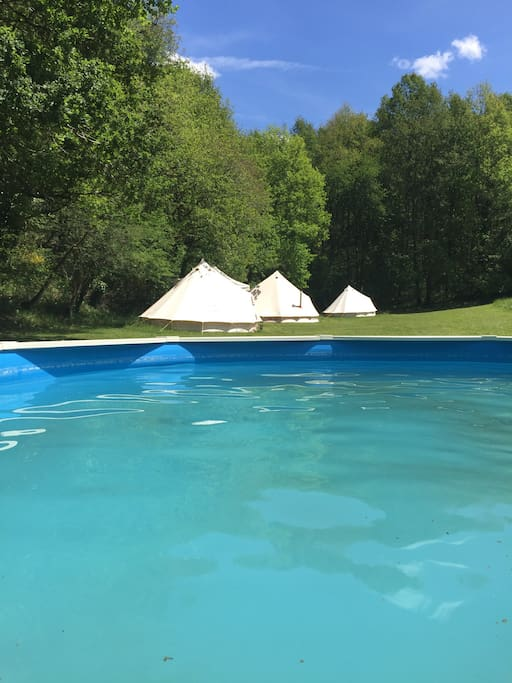 View of tents from the pool