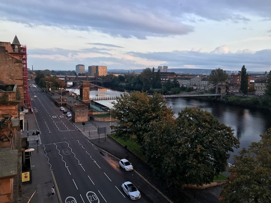 The amazing view of Glasgow and the Clyde from our balcony.