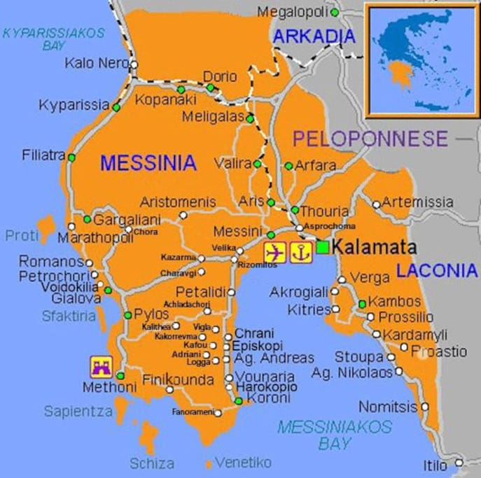 map of messinia - peloponesse