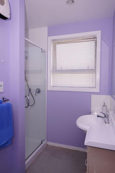 Bright bathroon with shower and handbasin.