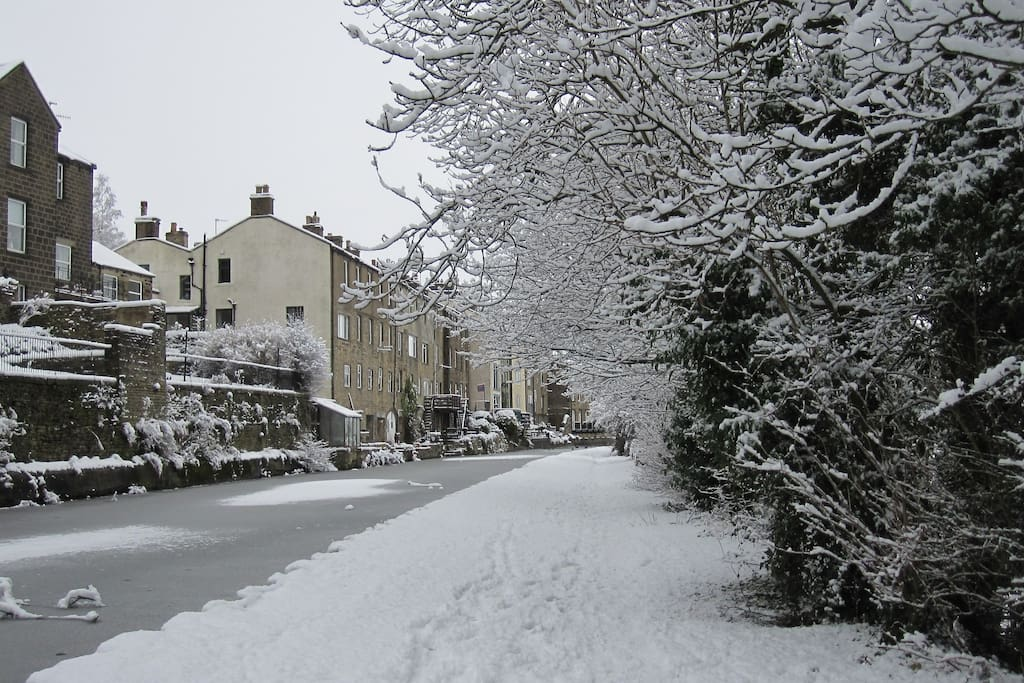 View towards the house along a frozen canal
