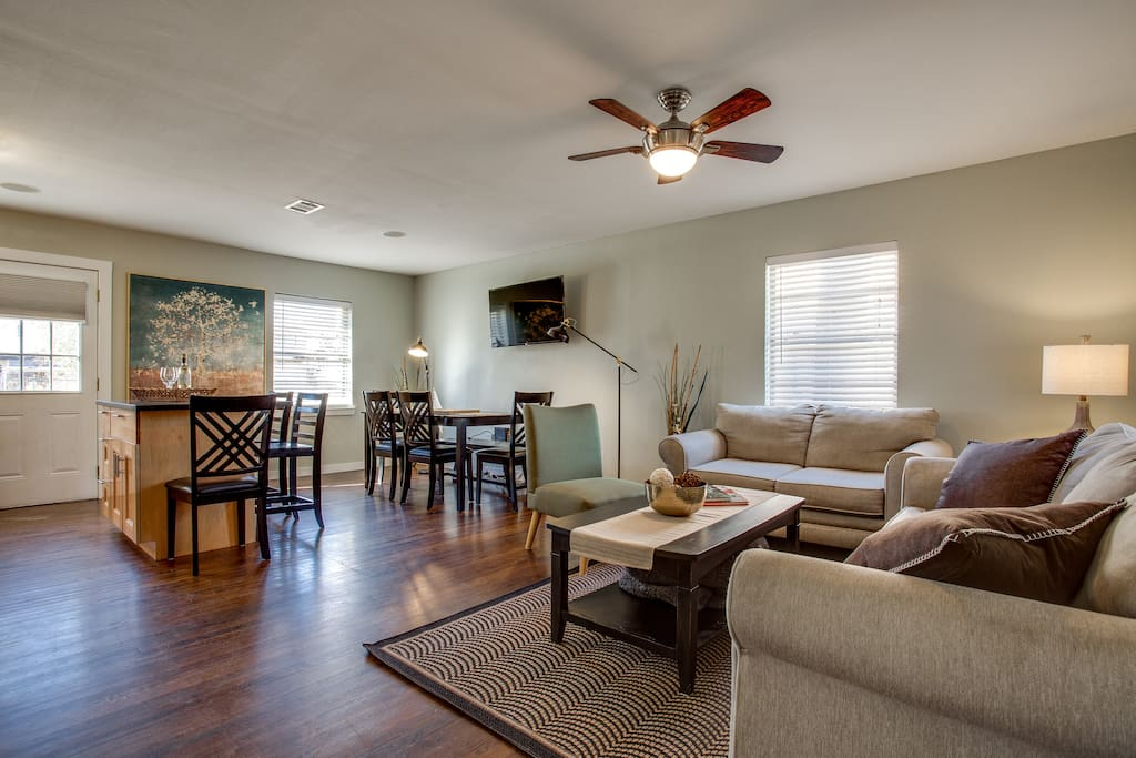 Open Living Room, Dining and Kitchen