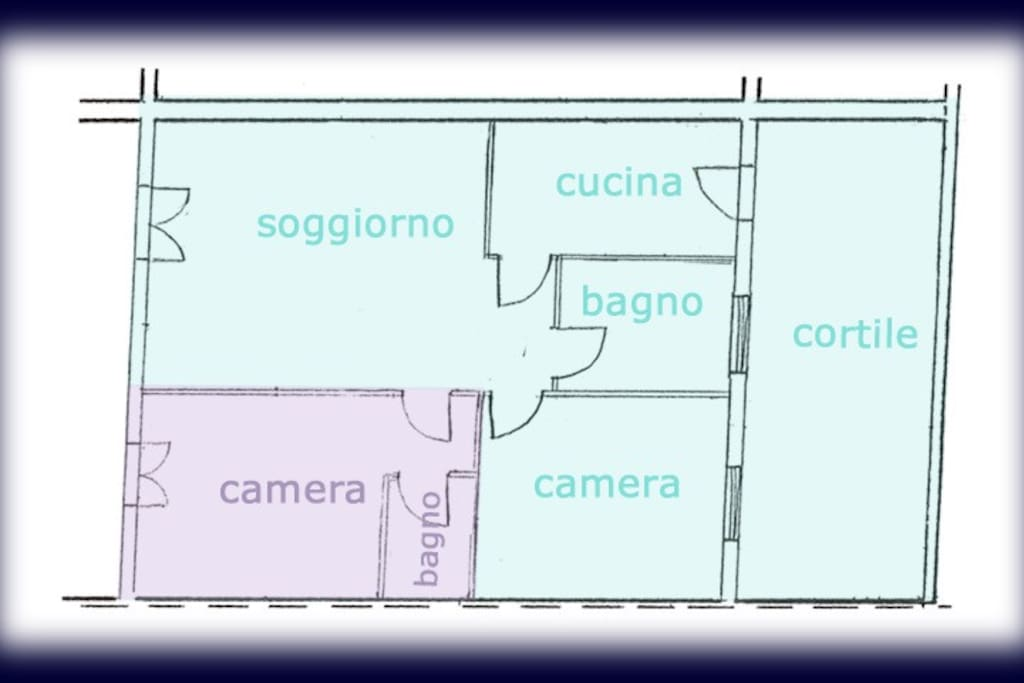 canera= bedroom; cucina= kitchen; bagno=bathroom; cortile= courtyard