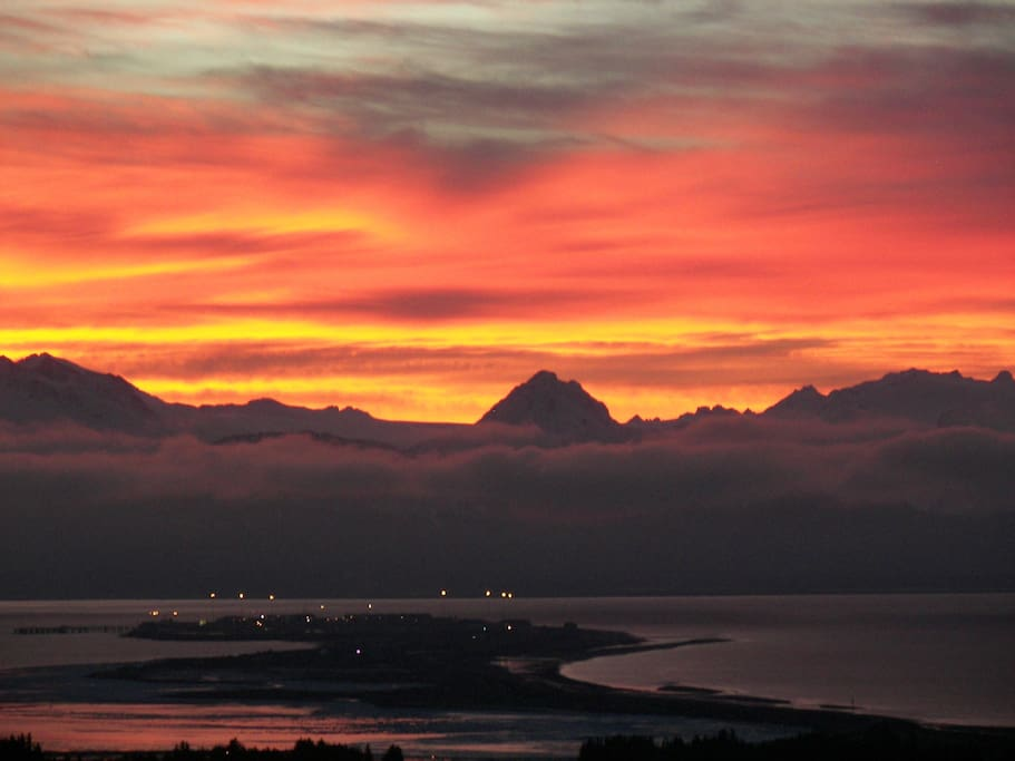 Sunrise over the Homer Spit - All photos from our deck