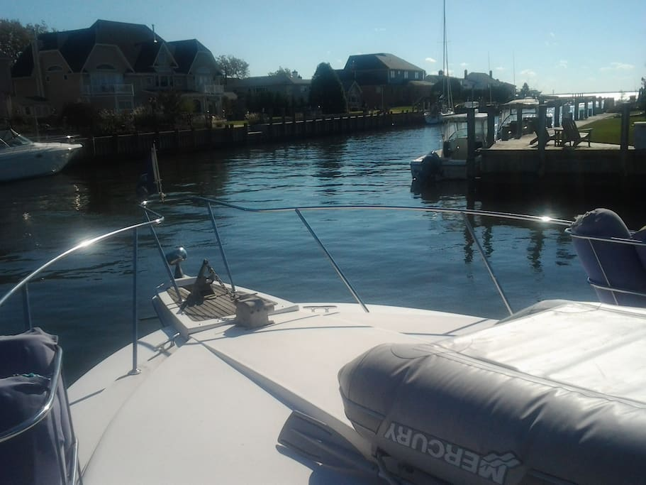 the bow of the boat for sunning, relaxation
