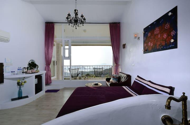 陽光味宿  白色浪漫二樓豪華海景雙人房(帶陽台)