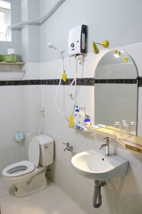 Clean bathroom with hot shower
