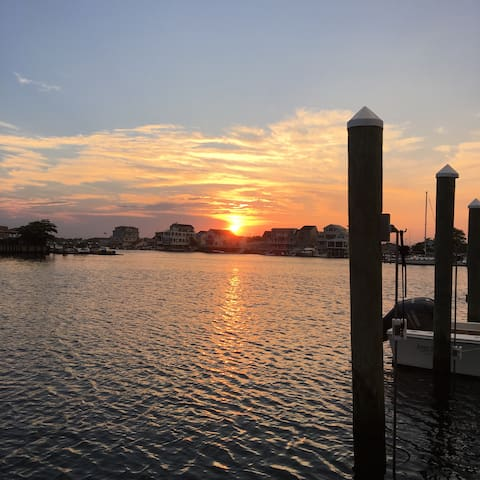 Waterfront home with dock, deck, walk to beach