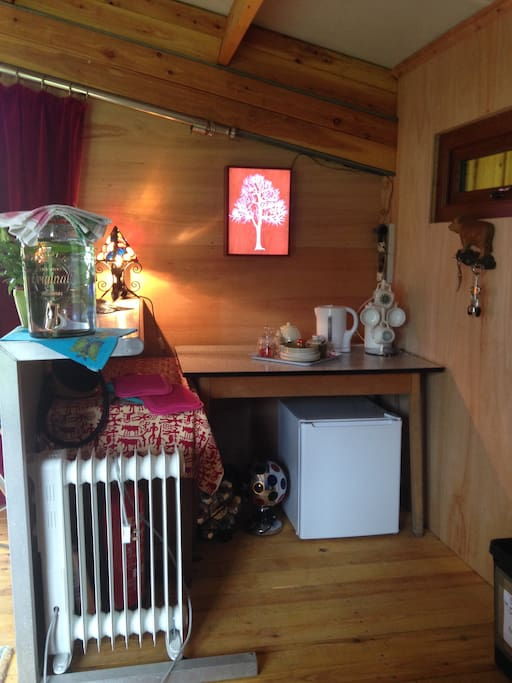 17th June 2016 - we 'enlarged' the kitchen area with the addition of a mini FRIDGE for all your chilling requirements.