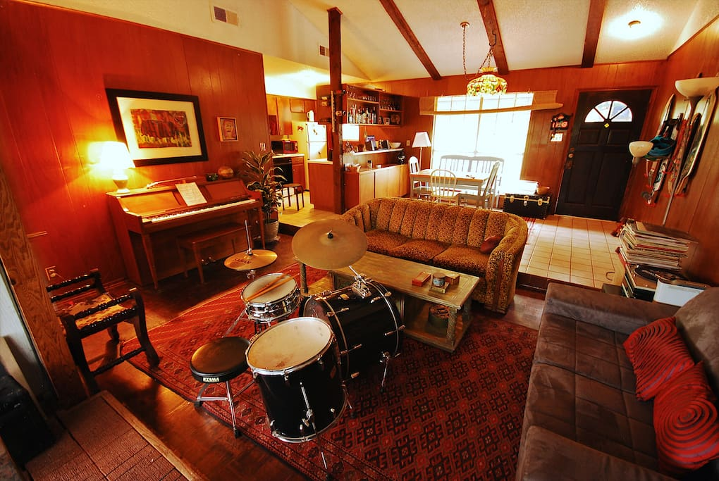 Living Room. Drum set easily moved if desired.