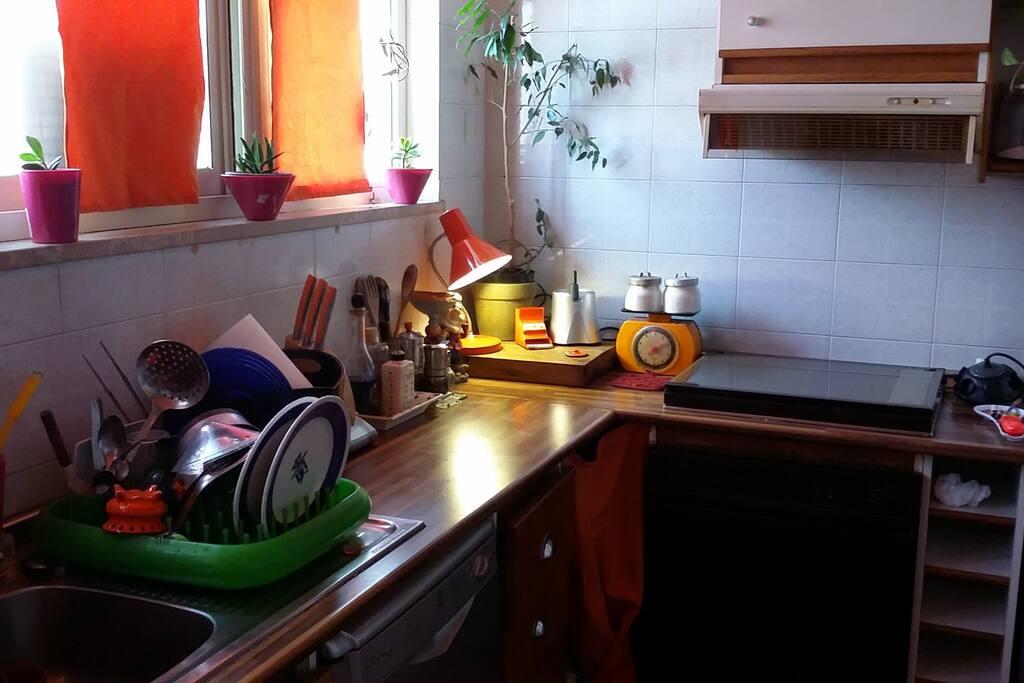 La cucina luminosa si affaccia sulla villa comunale per godere di un bel panorama mentre si fa colazione