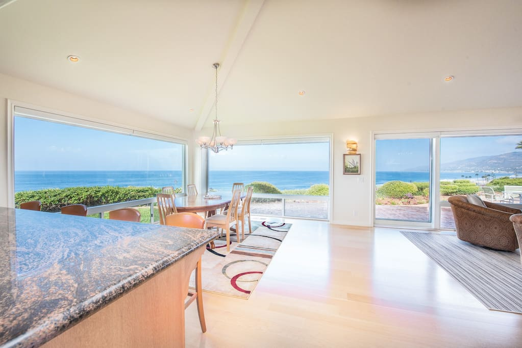 Kitchen and Dining Area with View of Ocean