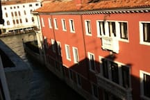 View from our windows! In the left is the grand canal
