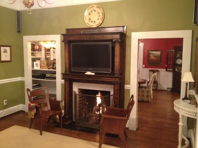 Welcome home!  Enjoy the roaring fire.  Or the TV (basic channels).  Or both!