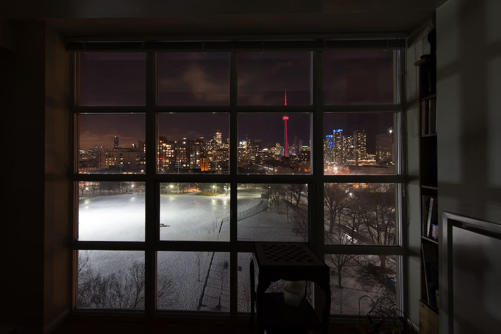 Night time winter view from inside.  Wherever you are in the unit, the beautiful view follows you.