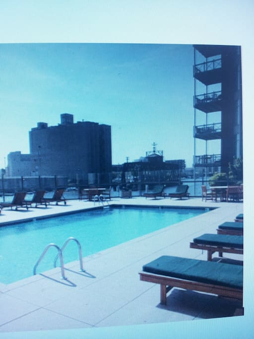 Swimming pool overlooking Milwaukee river.