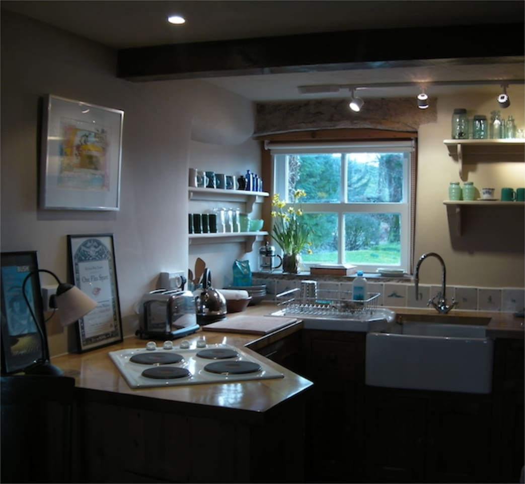 Full kitchen with antique Dutch tiles