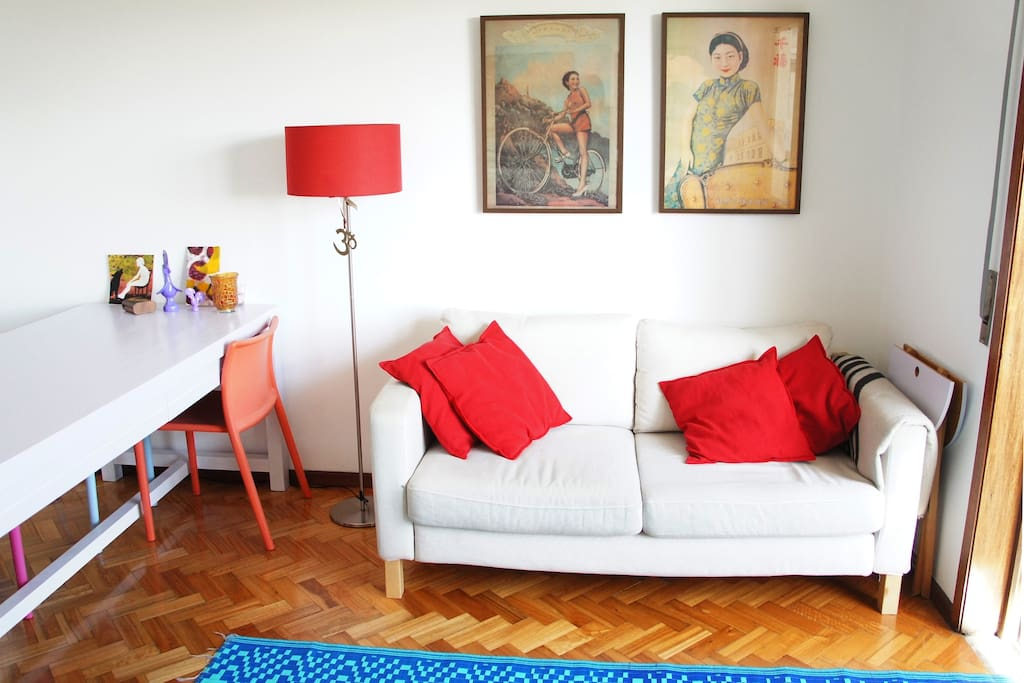 Comfortable sofa with beautiful view over Palácio de Cristal