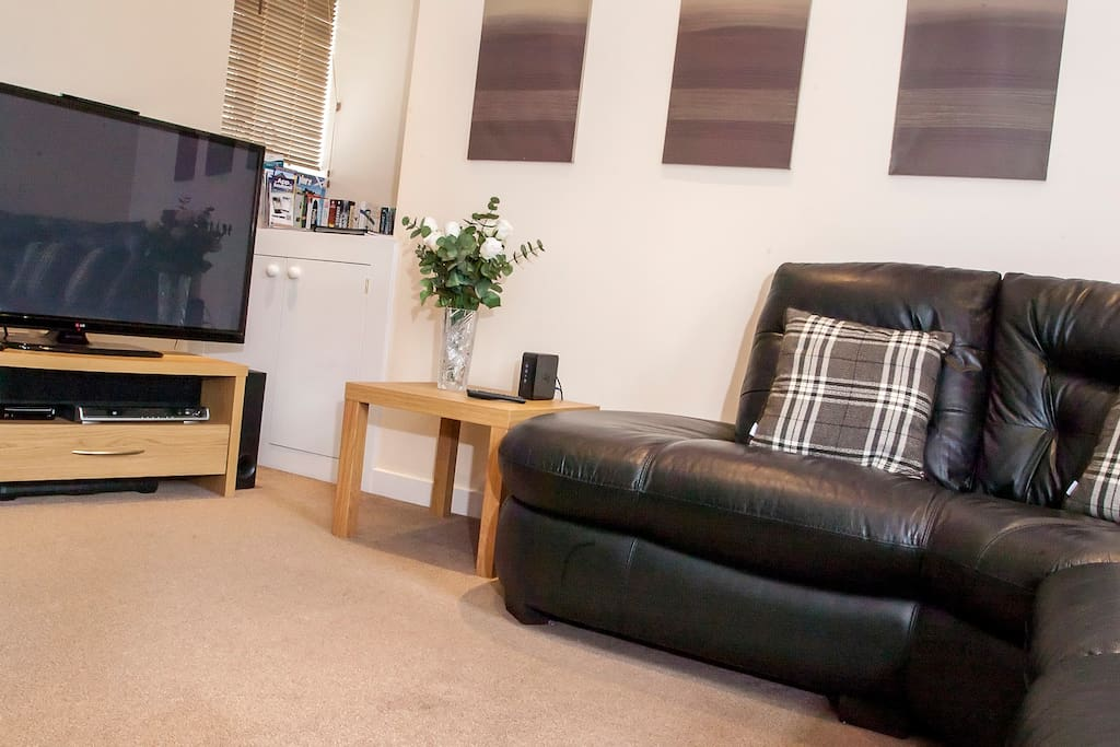TV, surround sound, Wii and selection of books, board games and DVDs