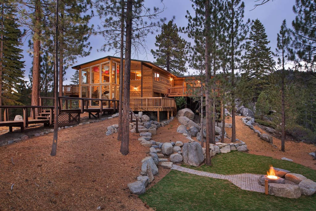 Set on an acre of pine tree filled land with beautiful views of Lake Tahoe we completed construction in 2015 and we invite you to Experience The Enchanted Treehouse!
